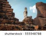 ancient buddha at wat...   Shutterstock . vector #555548788