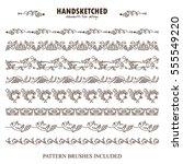 vector set of pattern brush or... | Shutterstock .eps vector #555549220