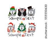 kawaii husky  malamute  wolf...   Shutterstock .eps vector #555550630