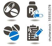 drug pill bottle rx clipboard...   Shutterstock .eps vector #555551578