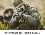 army soldiers during the... | Shutterstock . vector #555556078