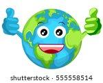 cartoon smiling happy earth... | Shutterstock . vector #555558514