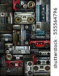 vintage wall full of radio... | Shutterstock . vector #555564796
