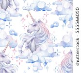 cute watercolor unicorn in the... | Shutterstock . vector #555566050