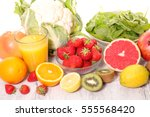 selection of food high in... | Shutterstock . vector #555568420
