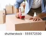 house moving concept. closeup... | Shutterstock . vector #555572530