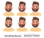 Set of male facial emotions. Bearded man emoji character with different expressions. Vector illustration in cartoon style | Shutterstock vector #555577954