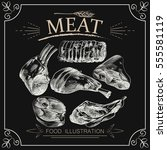 hand drawn meat elements set... | Shutterstock .eps vector #555581119