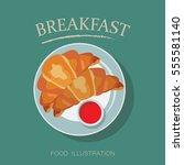 breakfast table vector ... | Shutterstock .eps vector #555581140
