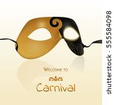 vector gold carnival mask with... | Shutterstock .eps vector #555584098