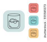 whiskey with ice cubes icon ...
