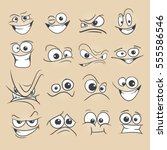 cartoon faces set vector...   Shutterstock .eps vector #555586546