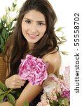 beautiful girl with bouquet of... | Shutterstock . vector #55558702