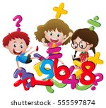 kids and many numbers... | Shutterstock .eps vector #555597874