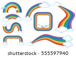 different shapes of rainbow... | Shutterstock .eps vector #555597940
