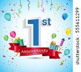 1st year anniversary... | Shutterstock .eps vector #555611299