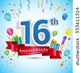 16th anniversary celebration... | Shutterstock .eps vector #555611314
