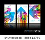 set of gift cards with arrows. | Shutterstock .eps vector #555612793