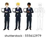 set handsome business man... | Shutterstock .eps vector #555612979