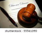 divorce papers and pen with... | Shutterstock . vector #55561390