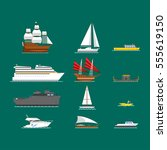 ship and boats vector. | Shutterstock .eps vector #555619150
