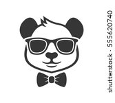 panda portrait in a glasses... | Shutterstock .eps vector #555620740