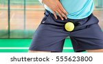 man playing tennis being hit by ... | Shutterstock . vector #555623800