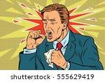 sick man coughing. pop art... | Shutterstock .eps vector #555629419