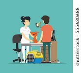 the vet at work. vector... | Shutterstock .eps vector #555630688