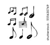 Stock vector vector set of hand drawn music notes 555630769