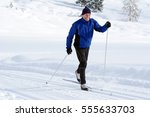 the cross country skier in the...   Shutterstock . vector #555633703
