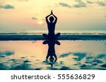 Silhouette Yoga Woman On The...