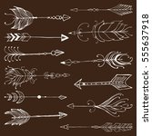 monochrome tribal set with... | Shutterstock .eps vector #555637918