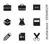 set of 9 editable school icons. ... | Shutterstock .eps vector #555640159
