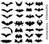 set  vector  silhouette bats | Shutterstock .eps vector #555642493