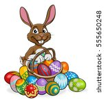 cartoon bunny on an easter egg... | Shutterstock .eps vector #555650248