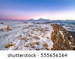 mountain peaks of elbrus sunset ... | Shutterstock . vector #555656164