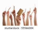 lot of hands raising and...   Shutterstock . vector #55566304