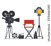 film directors chair with... | Shutterstock .eps vector #555666340