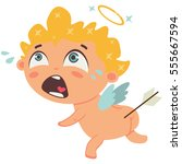 cupid crying with arrow in the... | Shutterstock .eps vector #555667594