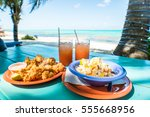 conch fritters and conch salad...   Shutterstock . vector #555668956