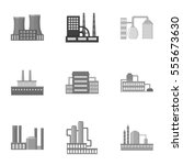 factory set icons in monochrome ...   Shutterstock .eps vector #555673630