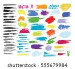 grunge hand drawn brush stroke... | Shutterstock .eps vector #555679984