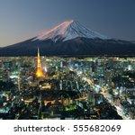 tokyo city with mount fuji in... | Shutterstock . vector #555682069