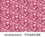 pink ornate hearts background.... | Shutterstock .eps vector #555685288