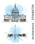 united states capitol building  ... | Shutterstock .eps vector #555686704