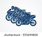 3 motorcycles racing side view... | Shutterstock .eps vector #555694804