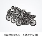 3 motorcycles racing side view... | Shutterstock .eps vector #555694948