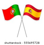 portuguese and spanish crossed... | Shutterstock .eps vector #555695728
