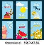 summer promotion banner sets... | Shutterstock .eps vector #555705868